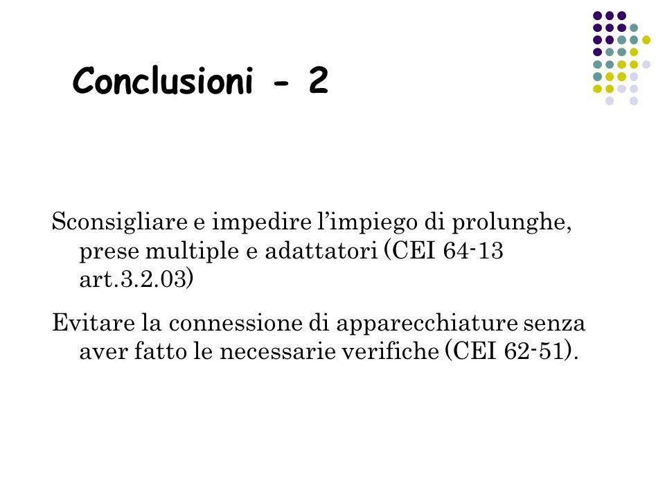 Conclusioni - 2 Sconsigliare e impedire l'impiego di prolunghe, prese multiple e adattatori (CEI 64-13 art.3.2.03)