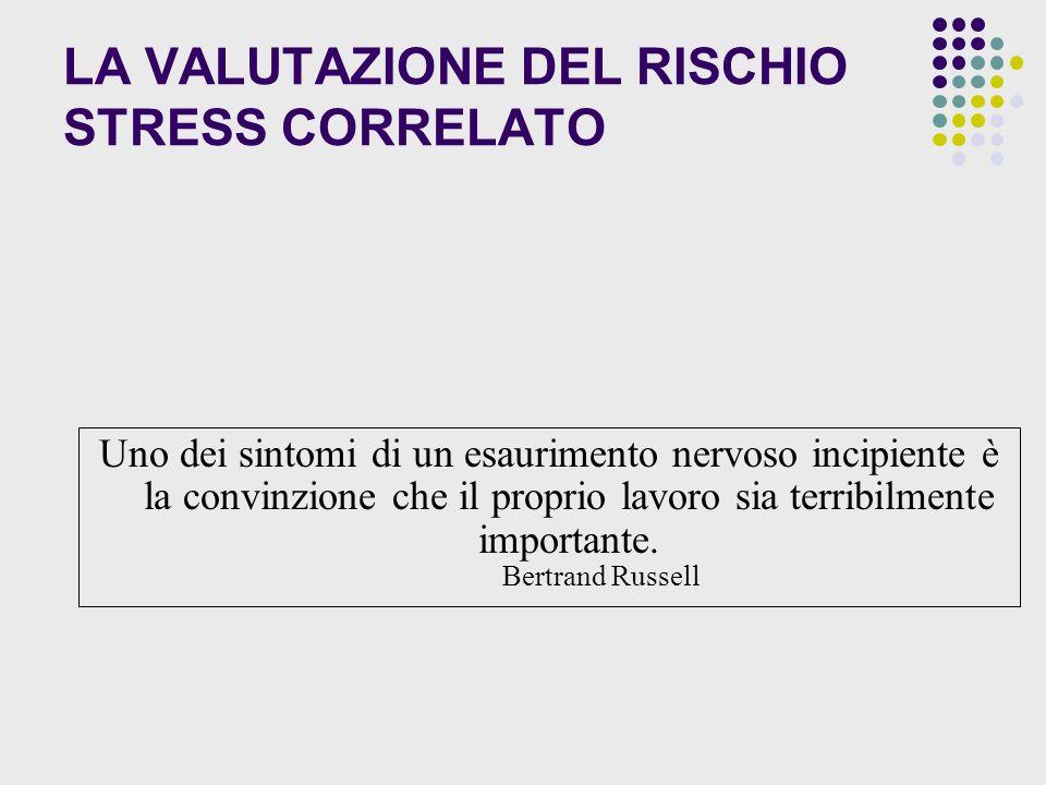 LA VALUTAZIONE DEL RISCHIO STRESS CORRELATO