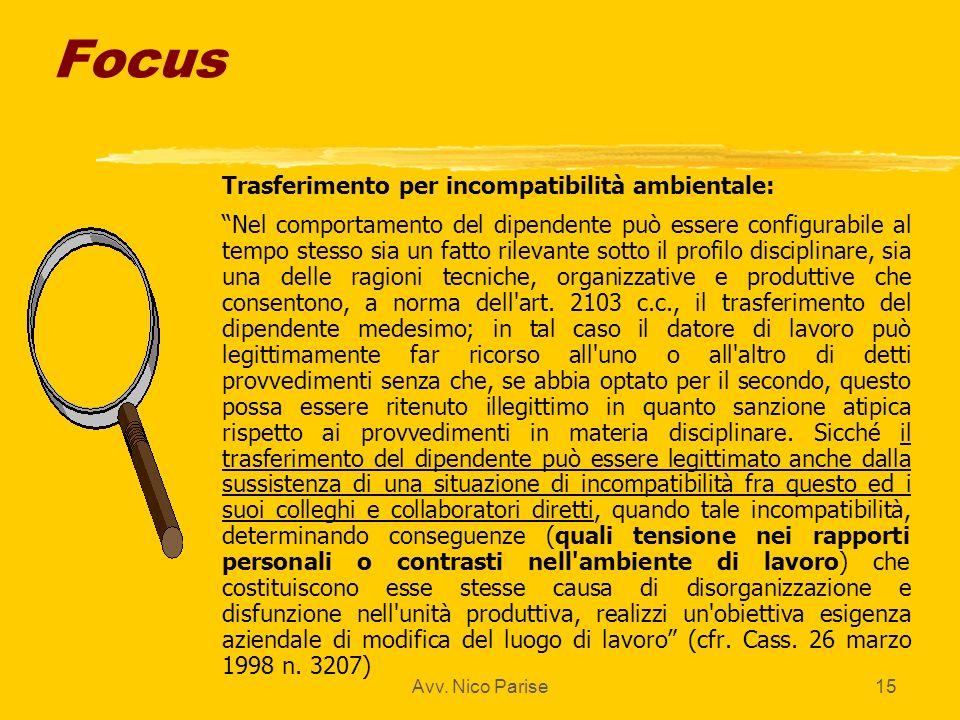 Focus Trasferimento per incompatibilità ambientale: