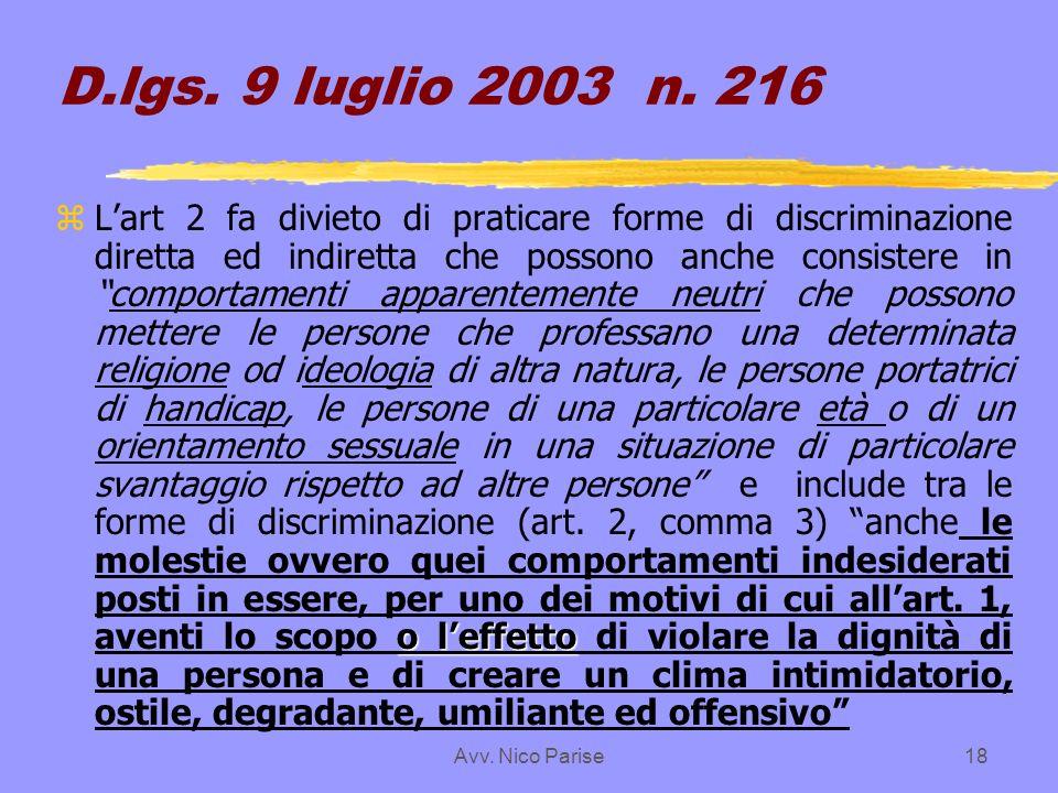 D.lgs. 9 luglio 2003 n. 216