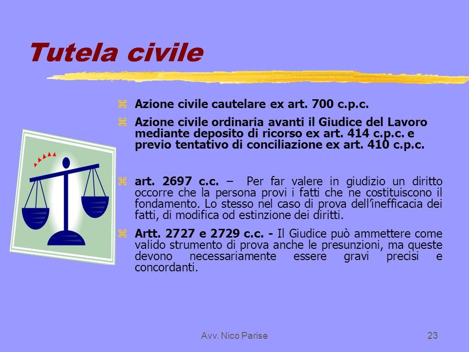 Tutela civile Azione civile cautelare ex art. 700 c.p.c.