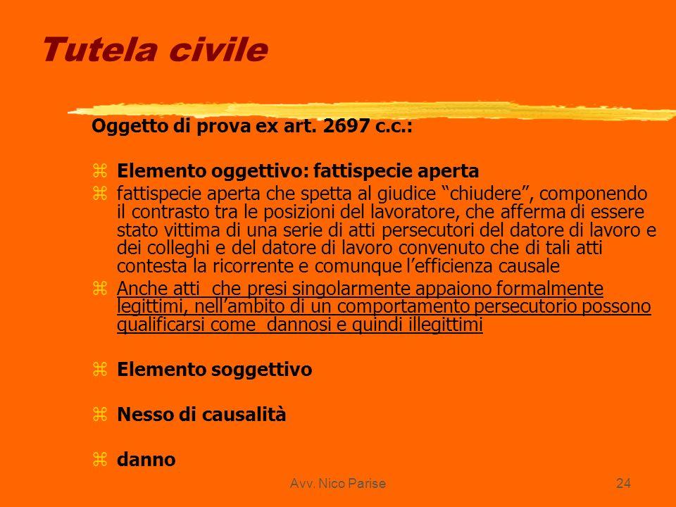 Tutela civile Oggetto di prova ex art. 2697 c.c.: