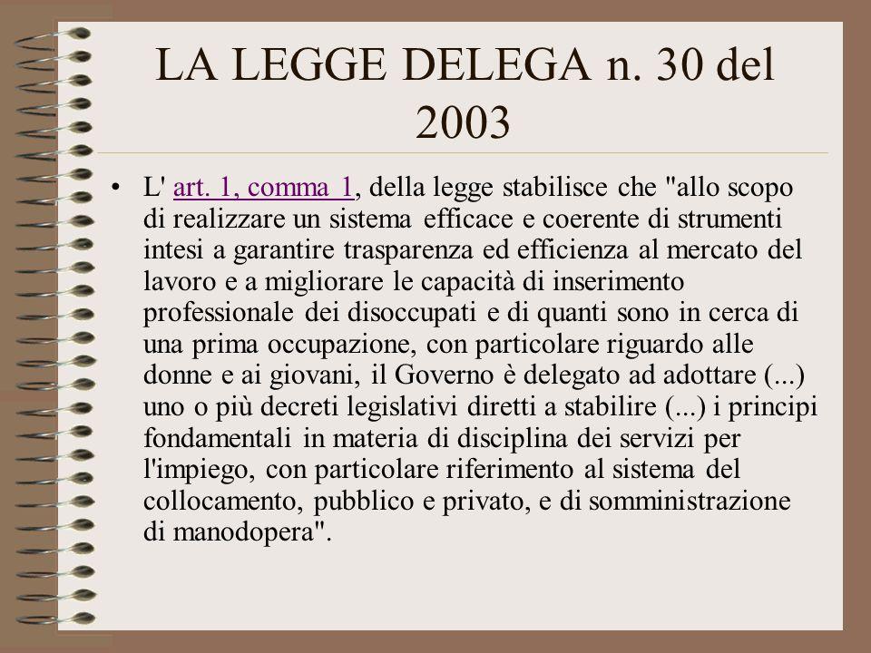 LA LEGGE DELEGA n. 30 del 2003