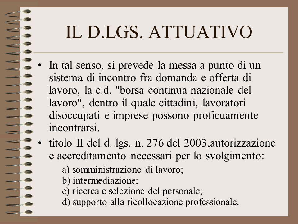 IL D.LGS. ATTUATIVO