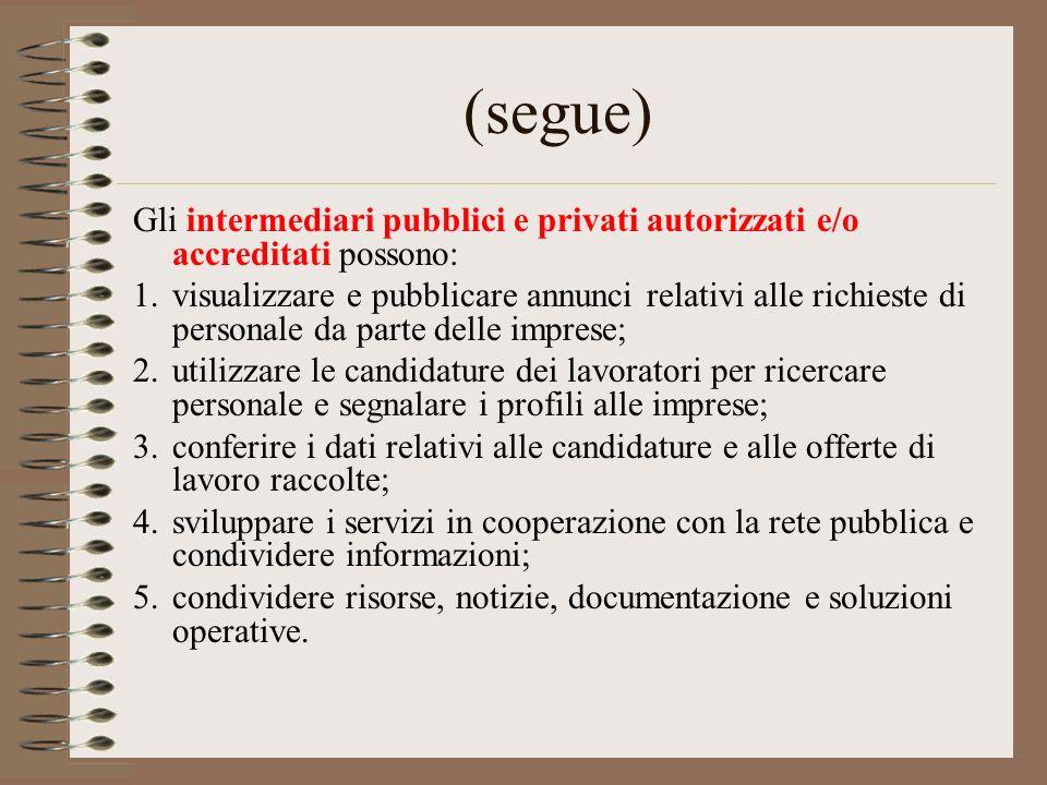(segue) Gli intermediari pubblici e privati autorizzati e/o accreditati possono: