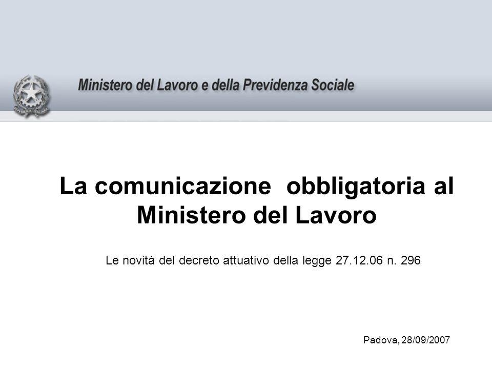 La comunicazione obbligatoria al Ministero del Lavoro