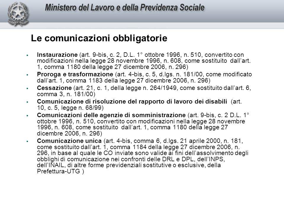 Le comunicazioni obbligatorie