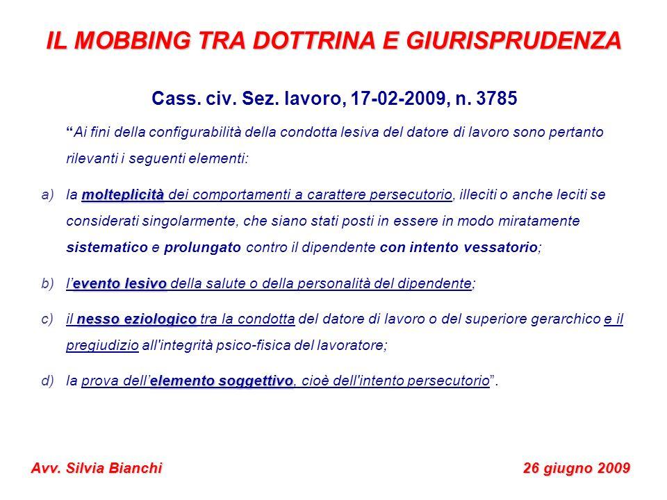 IL MOBBING TRA DOTTRINA E GIURISPRUDENZA