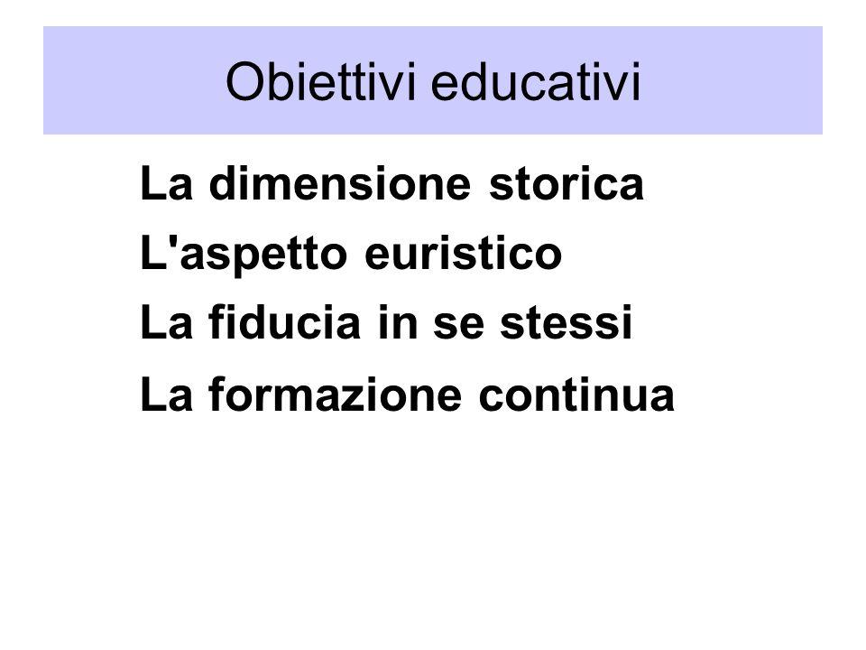 Obiettivi educativi L aspetto euristico La fiducia in se stessi