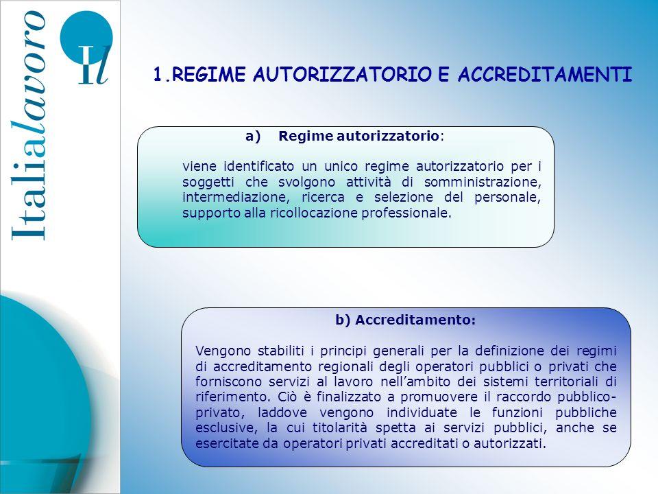1.REGIME AUTORIZZATORIO E ACCREDITAMENTI