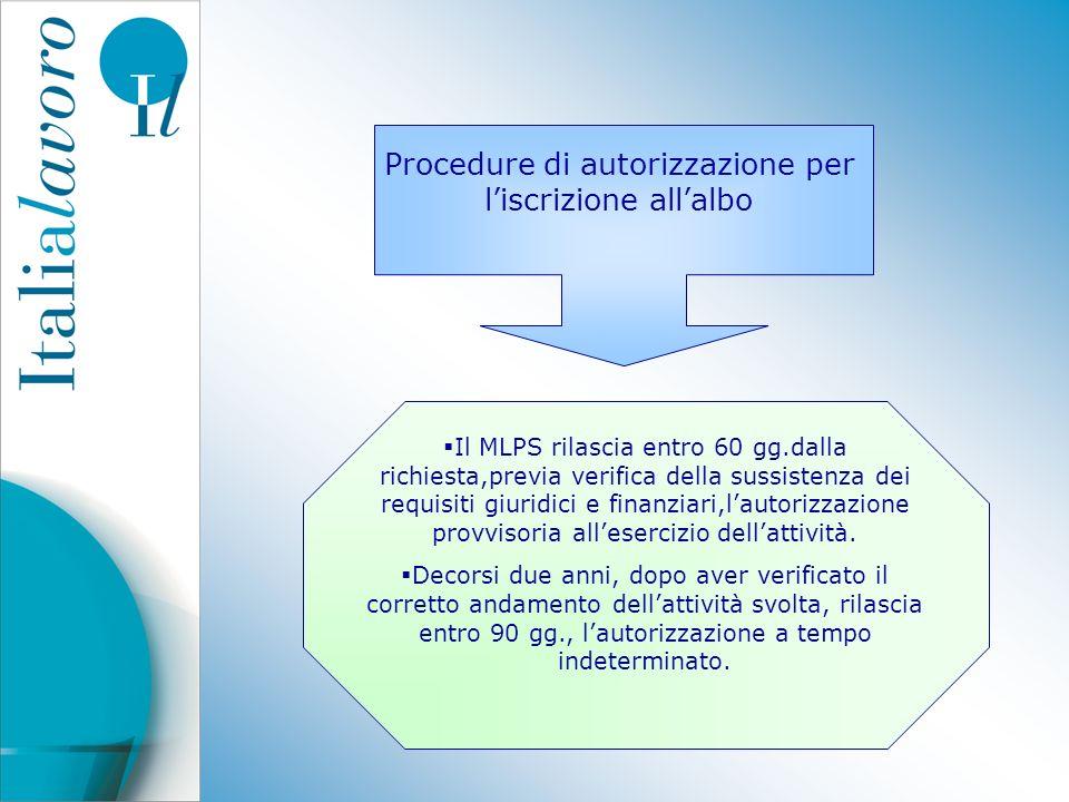 Procedure di autorizzazione per l'iscrizione all'albo
