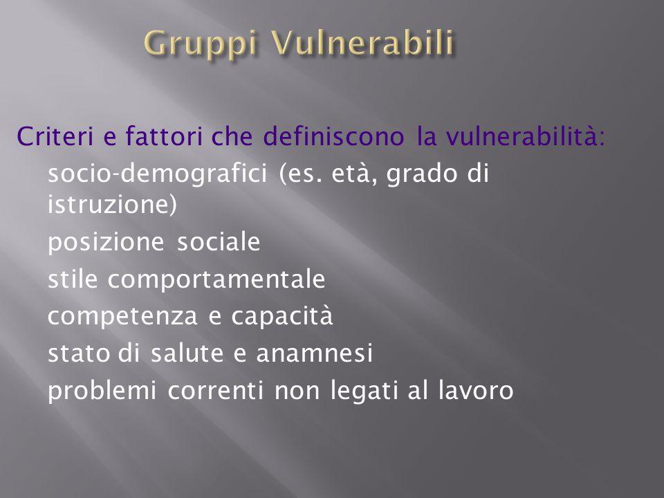 Gruppi Vulnerabili Criteri e fattori che definiscono la vulnerabilità: