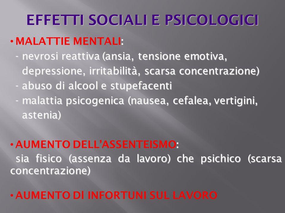 EFFETTI SOCIALI E PSICOLOGICI