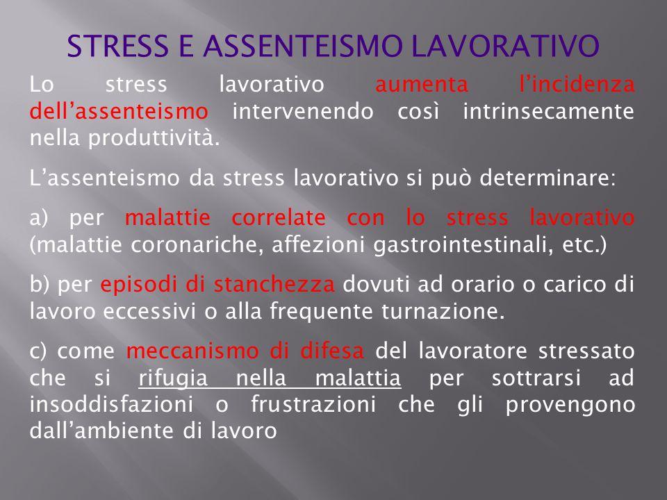 STRESS E ASSENTEISMO LAVORATIVO