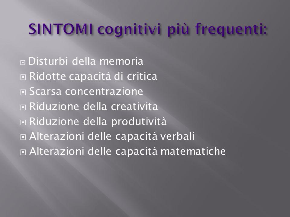 SINTOMI cognitivi più frequenti: