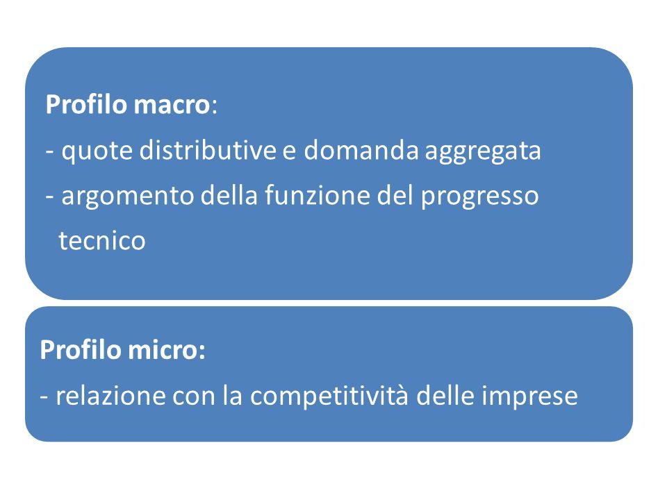 Profilo macro: - quote distributive e domanda aggregata. - argomento della funzione del progresso.