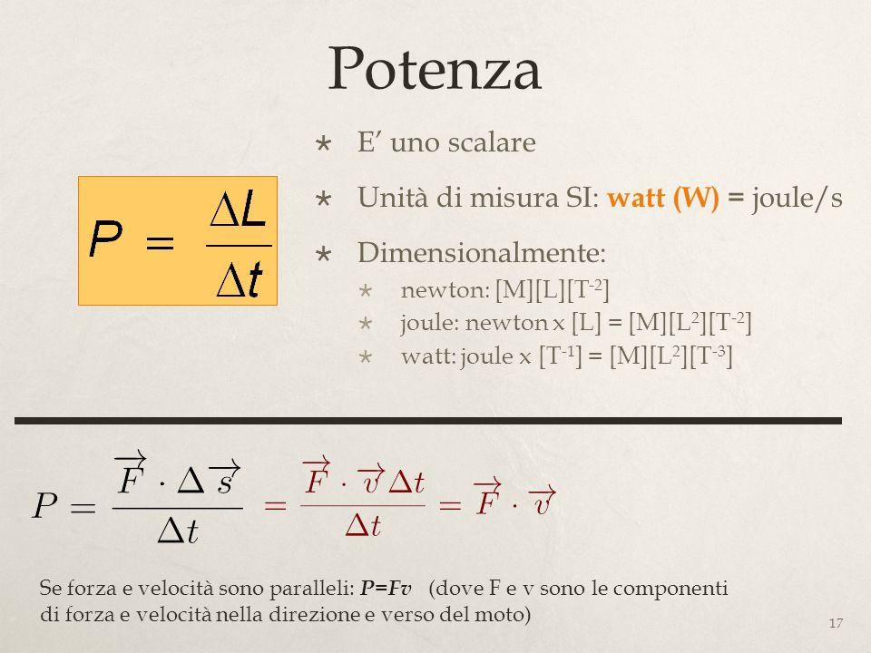 Potenza E' uno scalare Unità di misura SI: watt (W) = joule/s