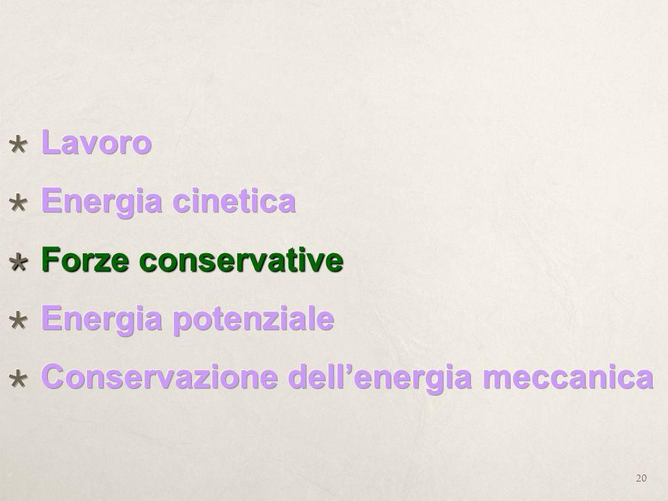 Lavoro Energia cinetica Forze conservative Energia potenziale Conservazione dell'energia meccanica