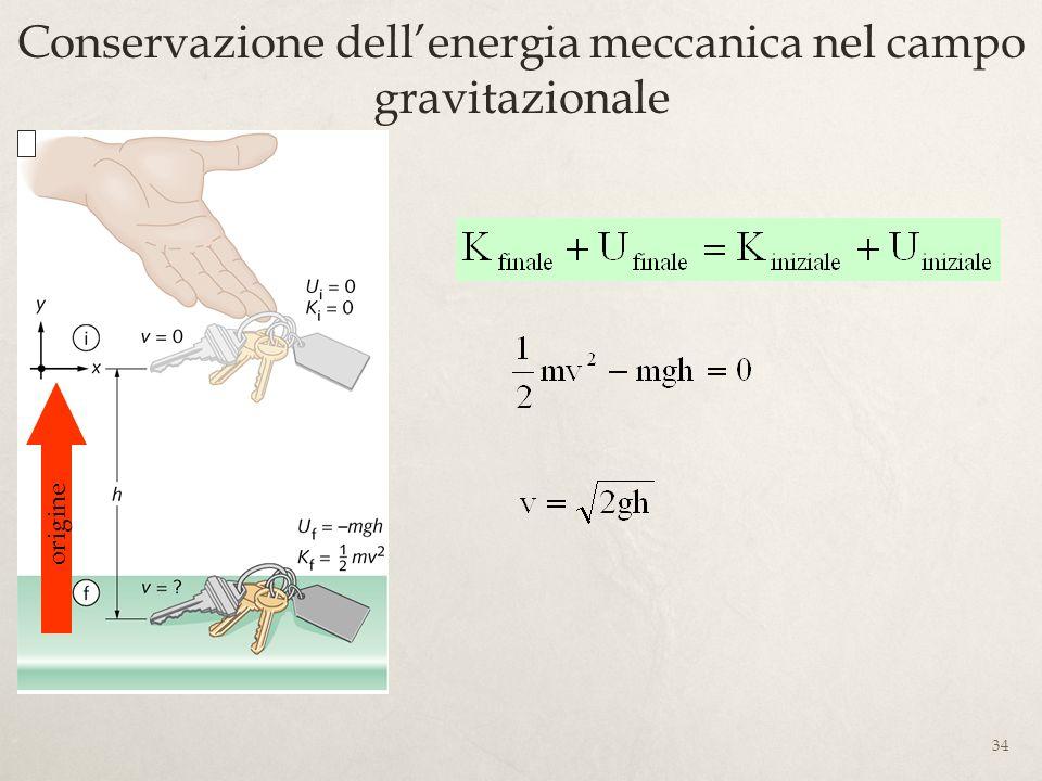 Conservazione dell'energia meccanica nel campo gravitazionale
