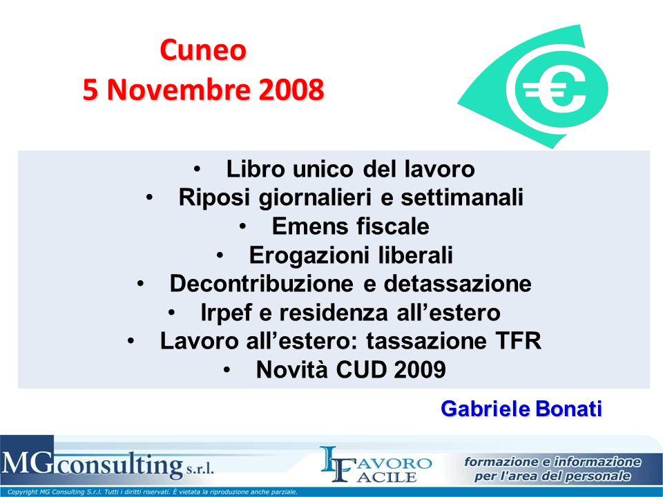 Cuneo 5 Novembre 2008 Libro unico del lavoro