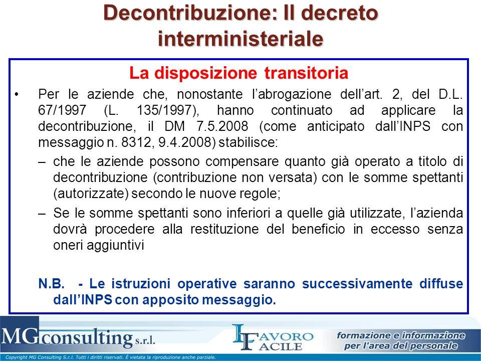 Decontribuzione: Il decreto interministeriale