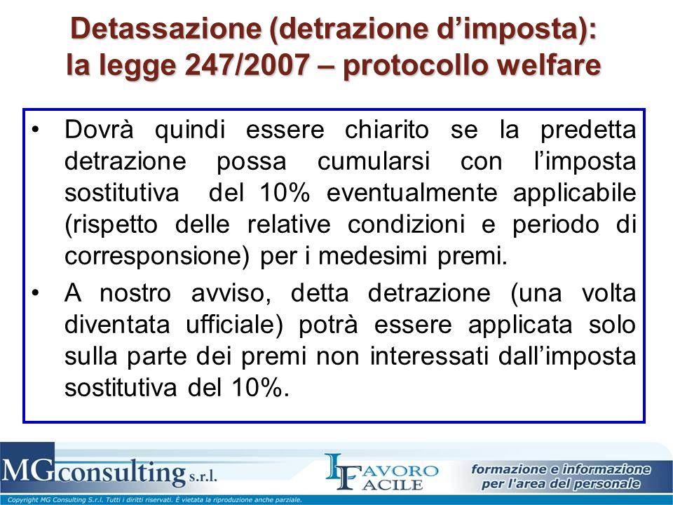 Detassazione (detrazione d'imposta): la legge 247/2007 – protocollo welfare