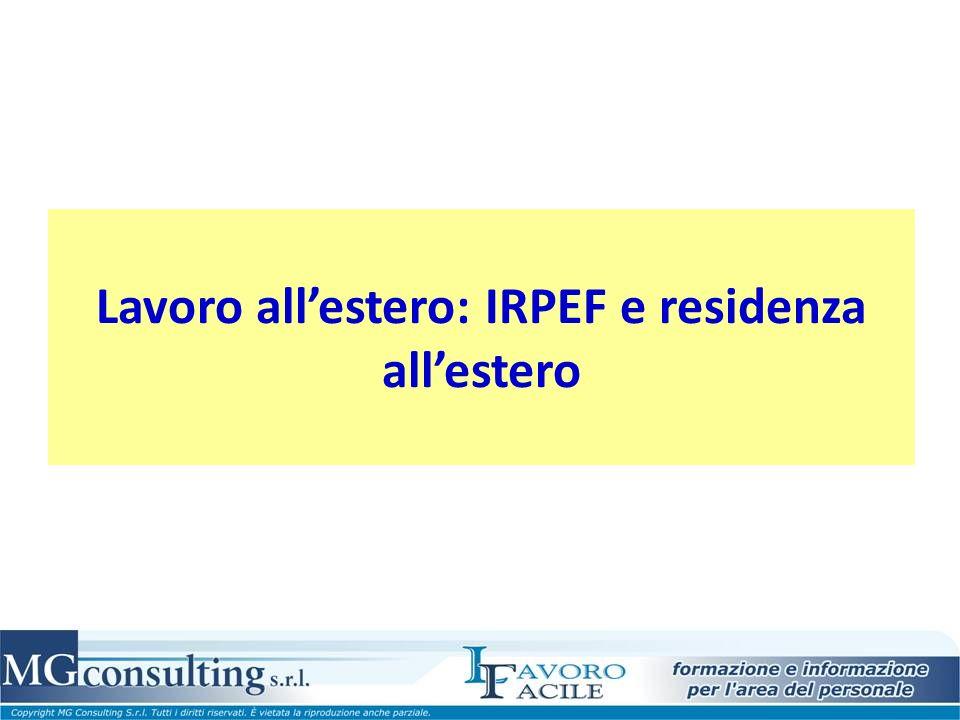 Lavoro all'estero: IRPEF e residenza all'estero