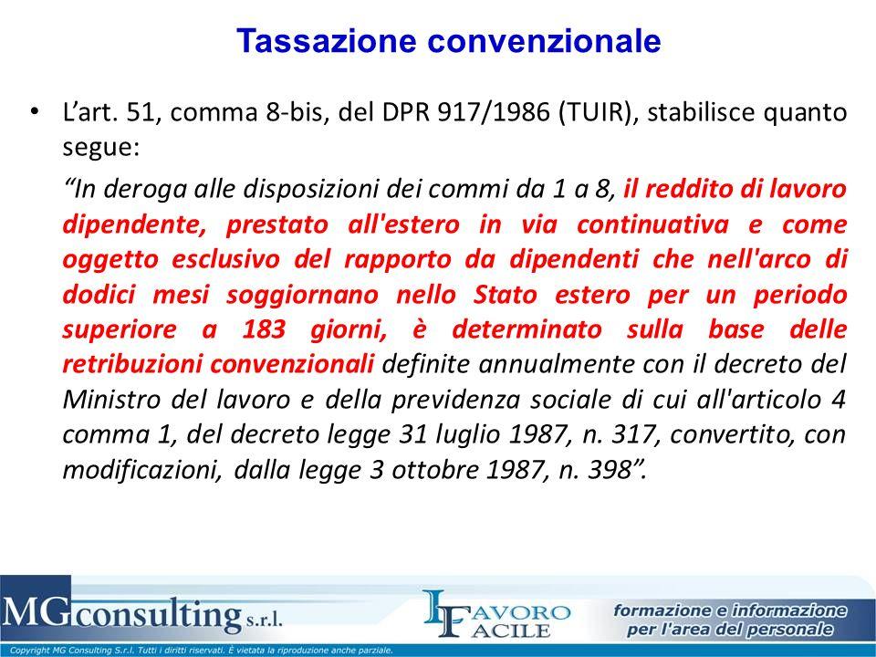 Tassazione convenzionale