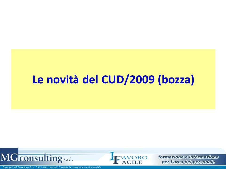 Le novità del CUD/2009 (bozza)