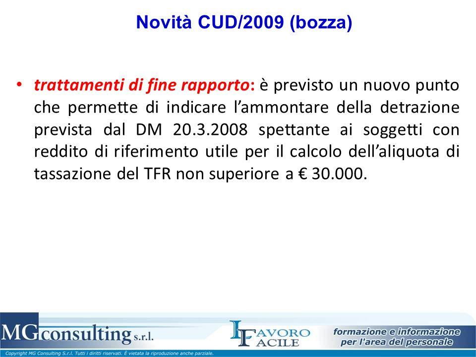 Novità CUD/2009 (bozza)