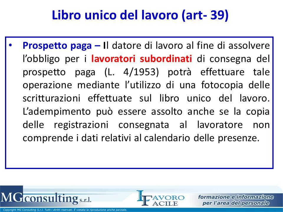 Libro unico del lavoro (art- 39)