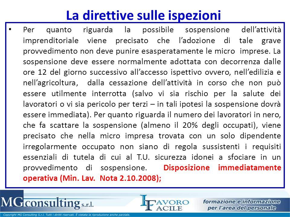 La direttive sulle ispezioni
