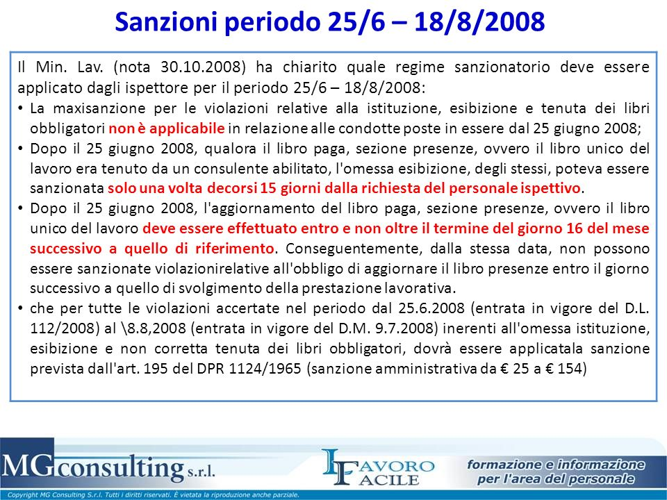 Sanzioni periodo 25/6 – 18/8/2008