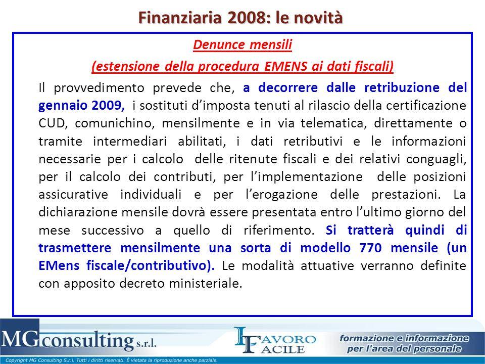 Finanziaria 2008: le novità