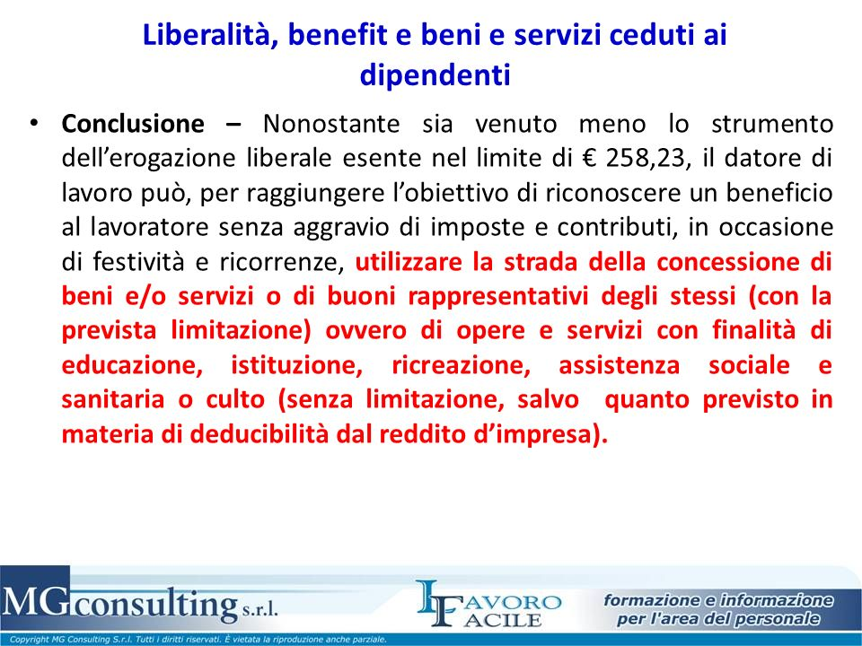 Liberalità, benefit e beni e servizi ceduti ai dipendenti