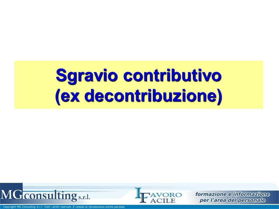 Sgravio contributivo (ex decontribuzione)
