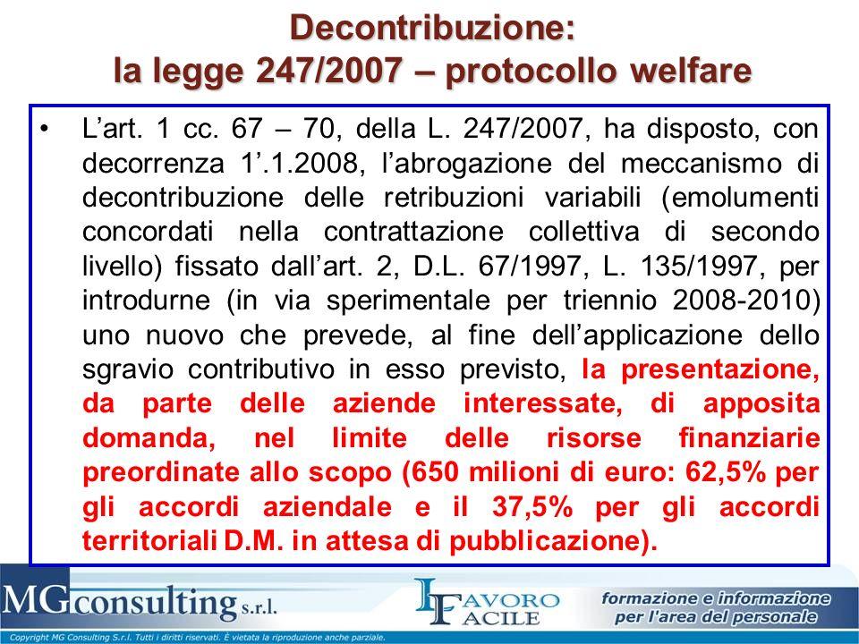 Decontribuzione: la legge 247/2007 – protocollo welfare