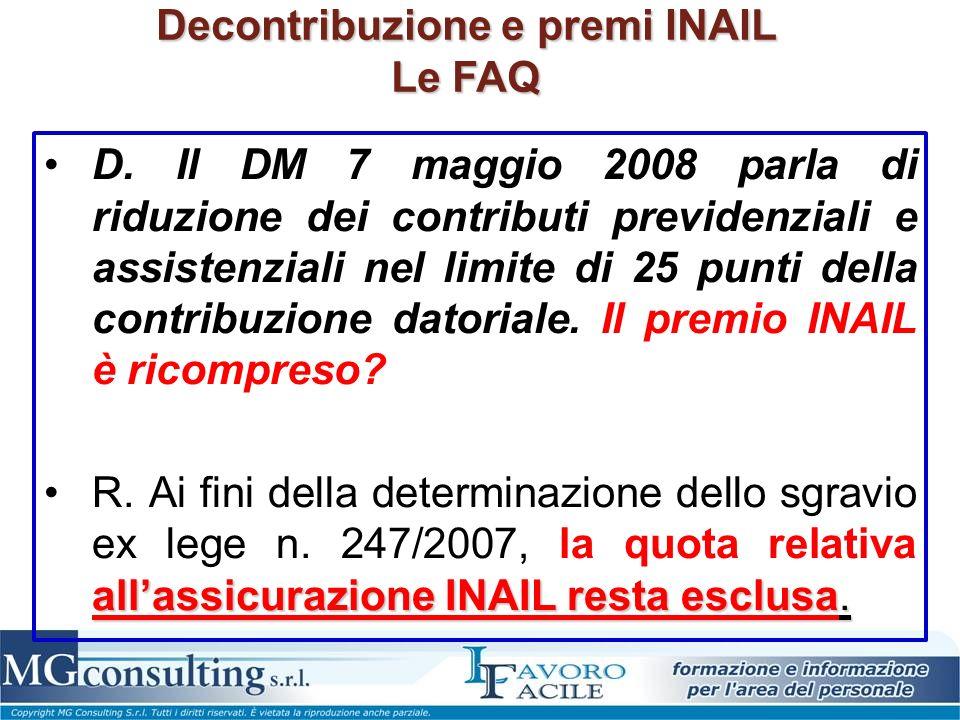 Decontribuzione e premi INAIL Le FAQ