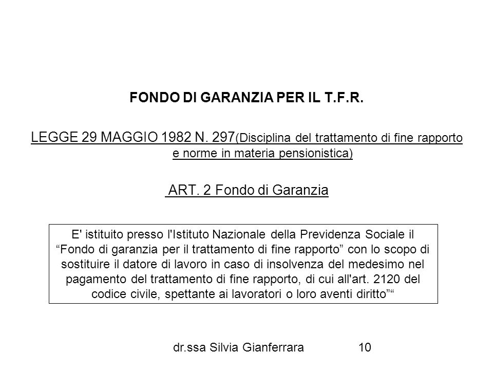 FONDO DI GARANZIA PER IL T.F.R.