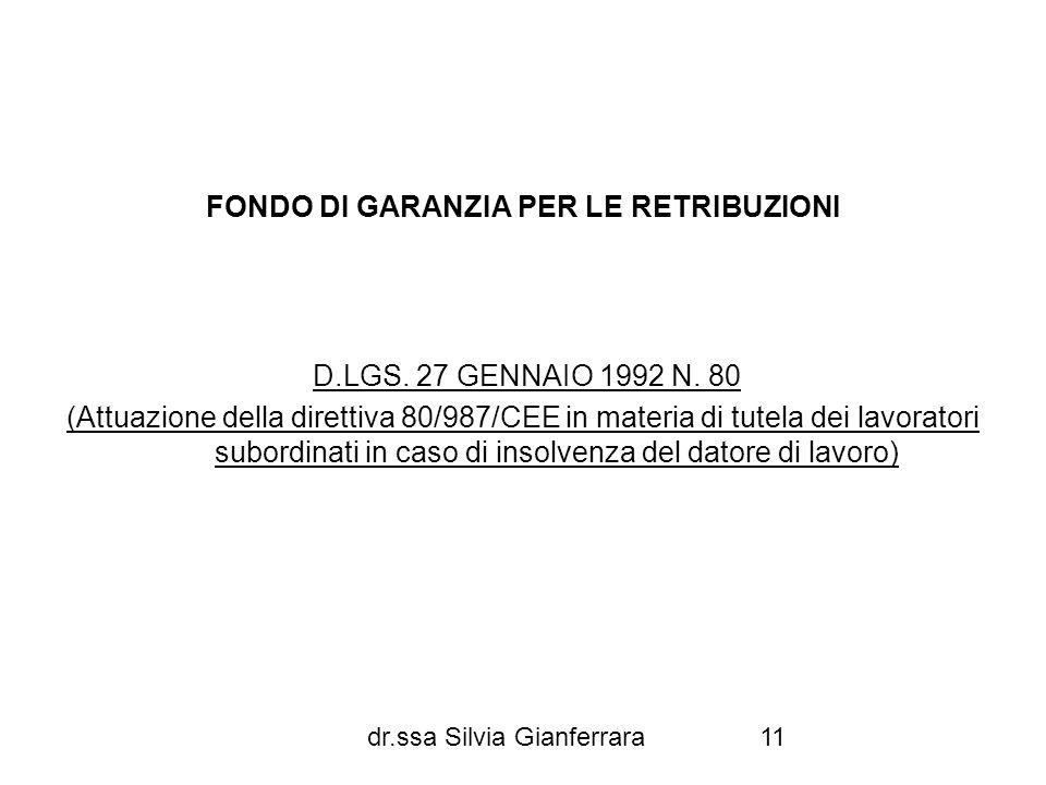 FONDO DI GARANZIA PER LE RETRIBUZIONI