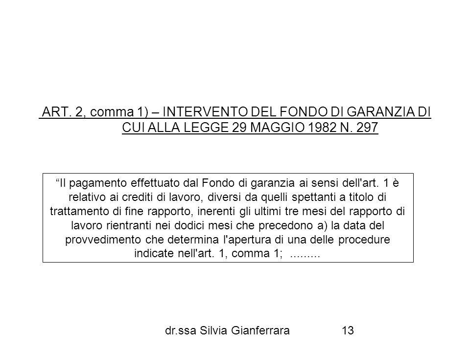 ART. 2, comma 1) – INTERVENTO DEL FONDO DI GARANZIA DI CUI ALLA LEGGE 29 MAGGIO 1982 N. 297