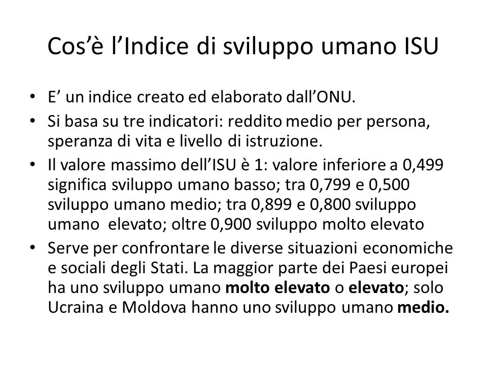 Cos'è l'Indice di sviluppo umano ISU