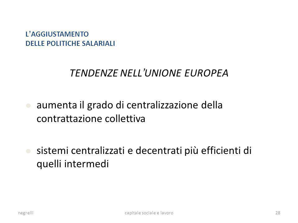 TENDENZE NELL'UNIONE EUROPEA