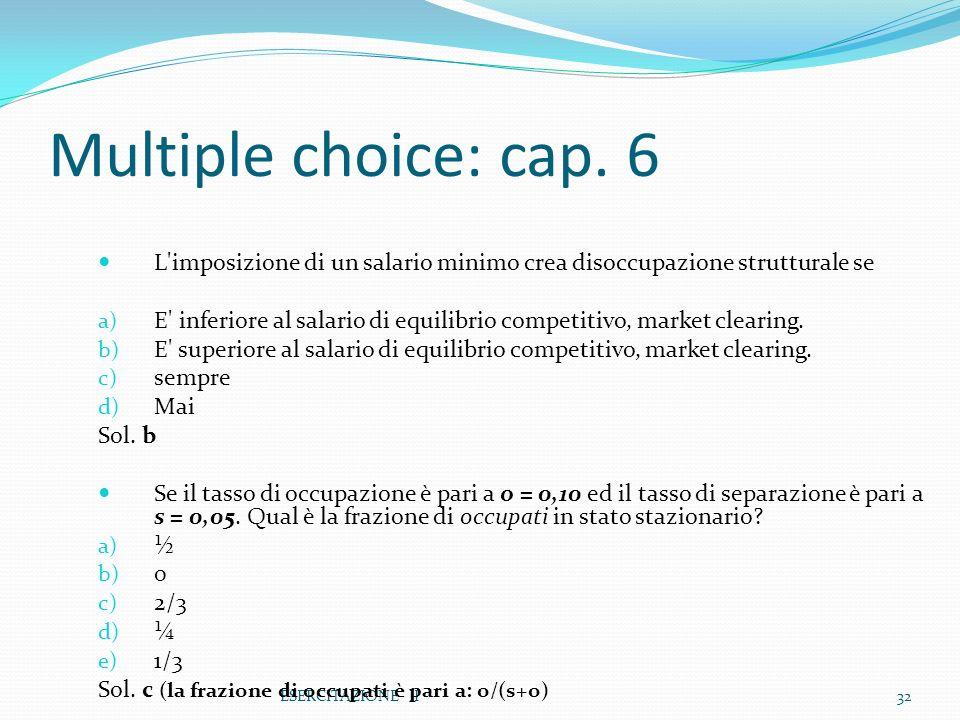 Multiple choice: cap. 6 L imposizione di un salario minimo crea disoccupazione strutturale se.