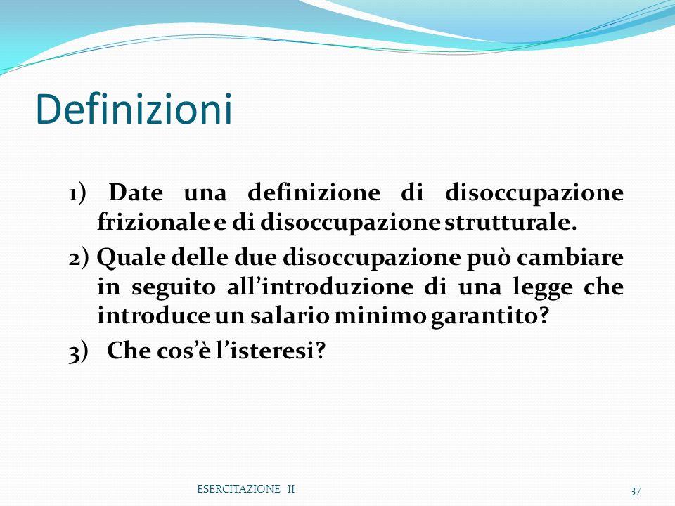 Definizioni 1) Date una definizione di disoccupazione frizionale e di disoccupazione strutturale.