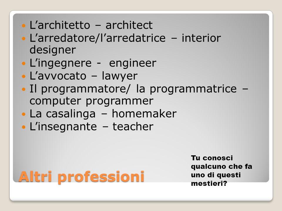 Altri professioni L'architetto – architect