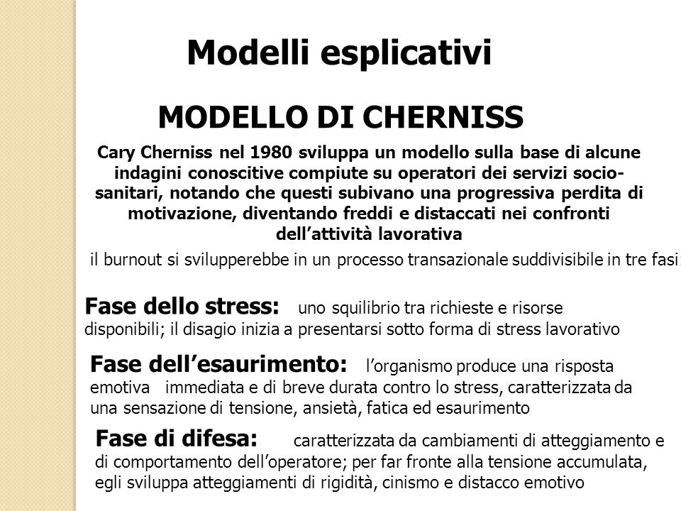 Modelli esplicativi MODELLO DI CHERNISS