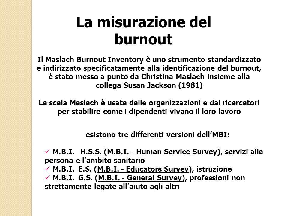La misurazione del burnout esistono tre differenti versioni dell'MBI: