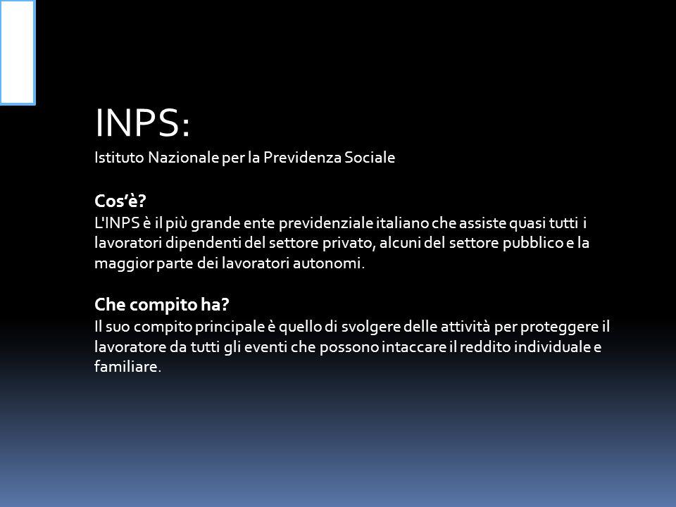 INPS: Istituto Nazionale per la Previdenza Sociale.