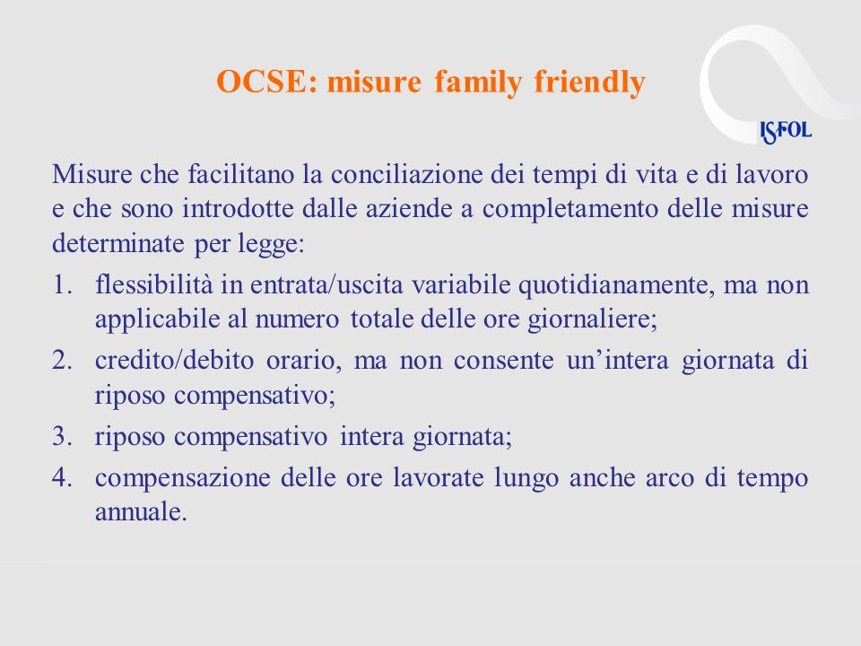 OCSE: misure family friendly